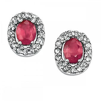 Elements Gold Elements White Gold Oval Ruby Earrings GE703RZ475