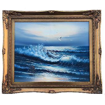 Havet och fåglar, oljemålning med ram, 40x50 cm