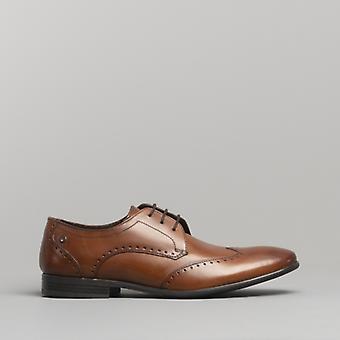 Basis London Buckingham Herren Leder Flügel Spitze Schuhe gewaschen Tan