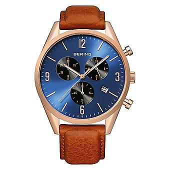 Bering Men's Watch Wristwatch Chronograph - 10542-467 Leather