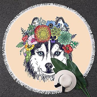 Floral Wolf Beach Towel