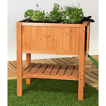 Raised bed planting table herb fir wood with tray for balconies and terraces