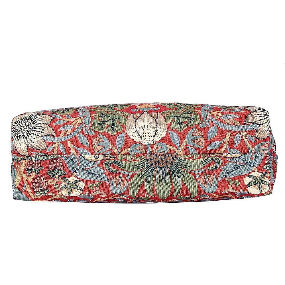 William morris - strawberry thief red foldaway shopping bag by signare tapestry / fdaw-strd