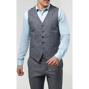 Dobell heren blauw Tweed gilet slim fit Prins van Wales check