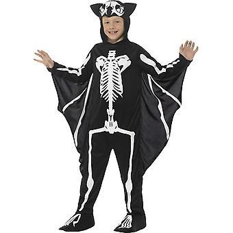 Bat luuranko puku, musta hupullinen Body & liitteenä siivet