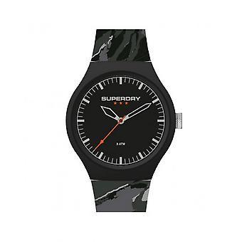 Superdry Watch SYG270EB-Urban XL camo pop runde sag sort sort urskive sort armbånd silikone grå mønstre