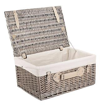 46cm Antique Wash Wicker Picnic Basket with White Lining