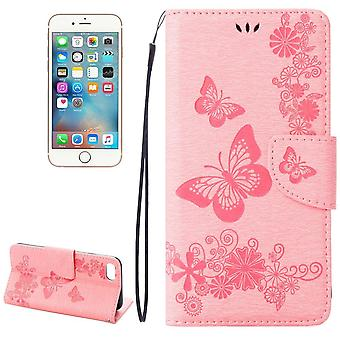 Pour iPhone 8,7 Wallet Case,Elegant Butterflies Embossed Leather Cover,Pink