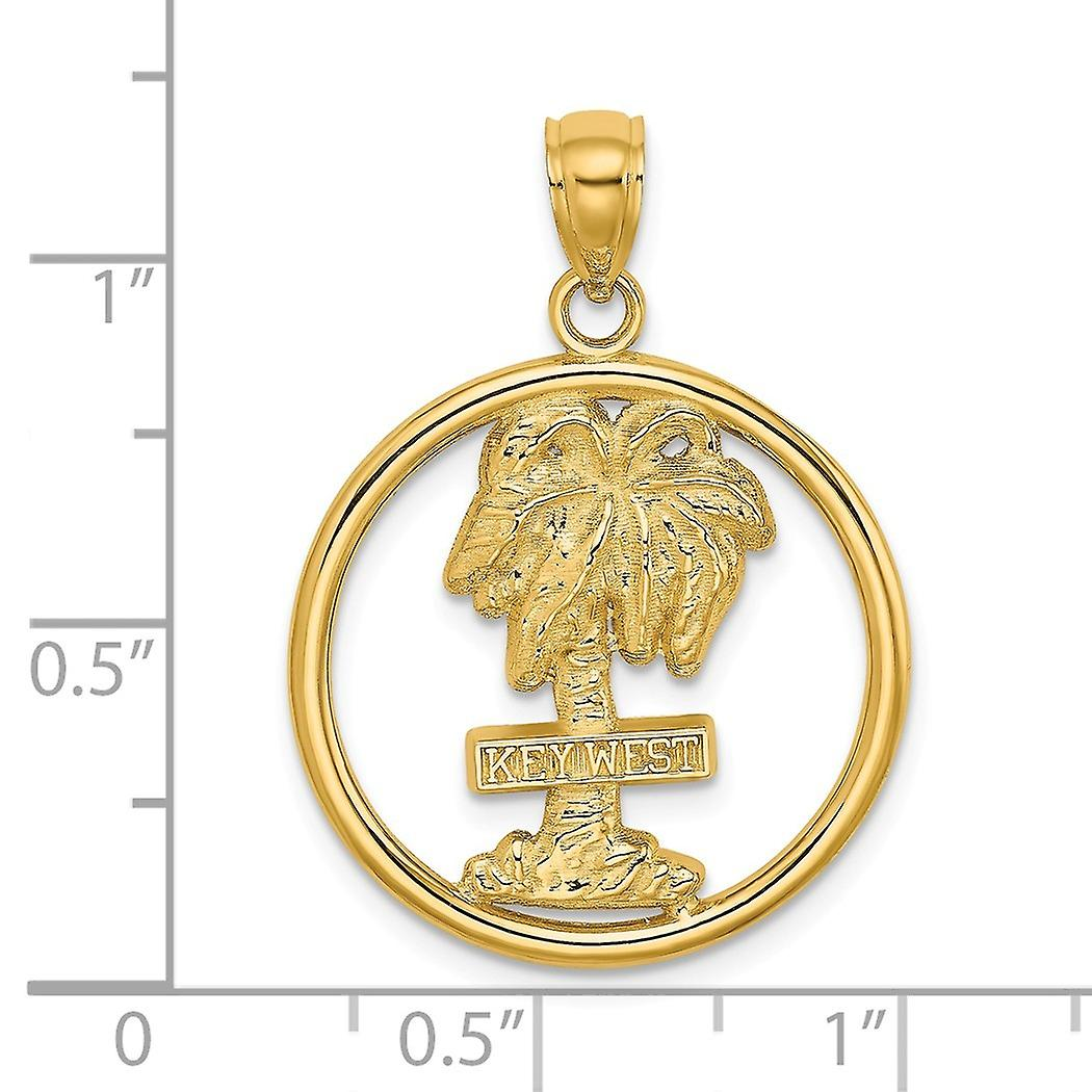 14k Gold Key West Palm Tree In Round Frame Charm Pendant Necklace Jewelry Gifts for Women