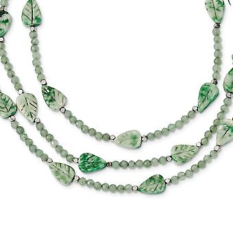 7.5mm Ster. Silver Hematite Green Quartz Tree Agate Leaves 3 strand W2inch Ext. Necklace 18 Inch Jewelry Gifts for Women