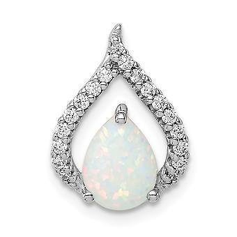 925 Sterling Silver Rhodium Pläterade Cubic Zirconia och Lab Simulerade Opal Chain Slide smycken gåvor för kvinnor