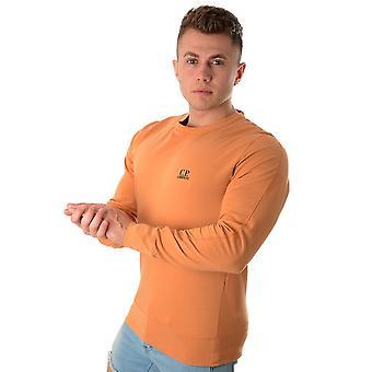 C. P. Company C.p. Company | 06cmss048a 2246g Logo Light Fleece Sweat Top - Orange Rust