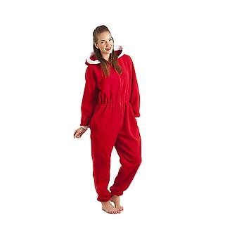 Camille Womens And Childrens Luxury All In One Red Hooded Fleece Onesie Pyjama