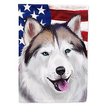 Alaskan Husky American Flag Flag Canvas House Size