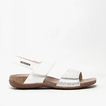 Mephisto Agave Ladies Leather Touch Fasten Sandals White