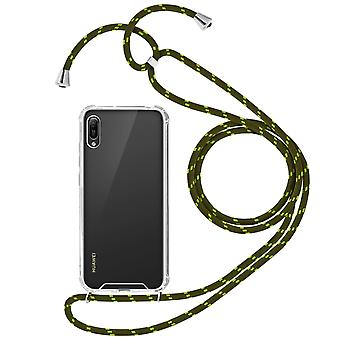 Braided Nylon Lanyard Phone Case Honor 8A / Huawei Y6 2019 / Y6S cell, Green