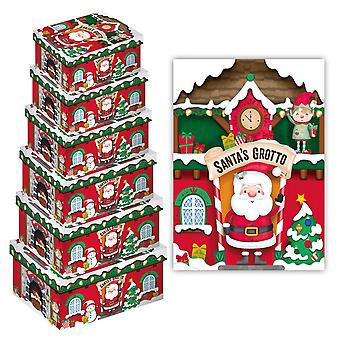 Eurowrap Christmas Santas Grotto Oblong Gift Boxes (Pack of 6)