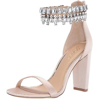 Jewel Badgley Mischka Women's DANCER Sandal, champagne satin, 6.5 M US