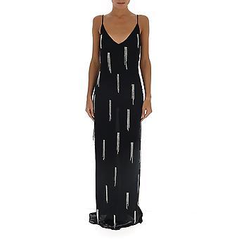 Amen Amw19516089 Damen's Schwarze Viskose Kleid