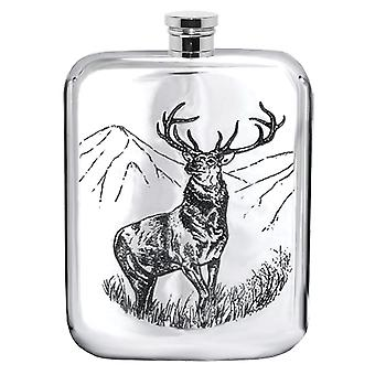 Scottish Stag Pewter Purse Flask - 6oz