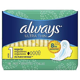 Always Ultra Thin Pads, Regular, 18 Count