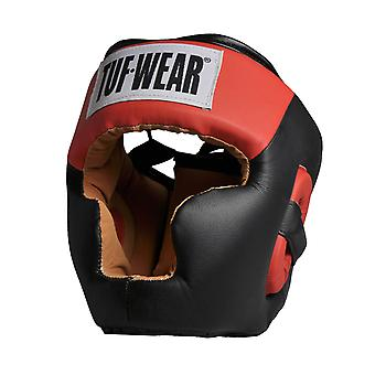 Tuf Wear Headguard Full Face with Chin Imitation Leather Black/Red