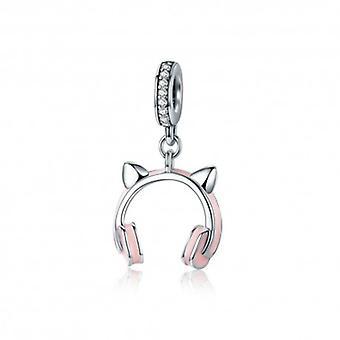 Sterling Silver Pendant Charm Cat Earphone - 5386