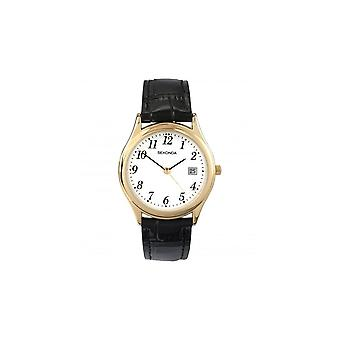 Sekonda Mens White Dial Gold Bezel And Black Strap Watch 3473