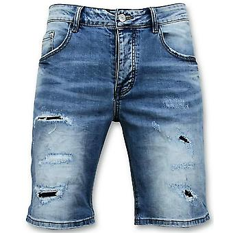 Shorts - Revet Jeans Kort - 9086 - Blå