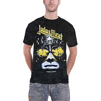 Judas Priest Mens T Shirt Black Hell bent For Leather Acid Wash Official