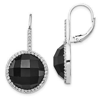 925 Sterling Sølv Leverback Rhodium belagt Skakternet skåret Cubic Zirconia og sort simuleret Onyx Skakternet Cut L
