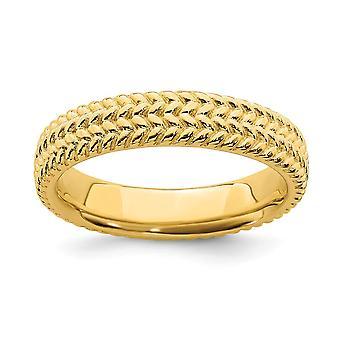 925 sterling sølv teksturert polert mønstret stables uttrykk 14k gullbelagt ring smykker gaver til kvinner - Rin
