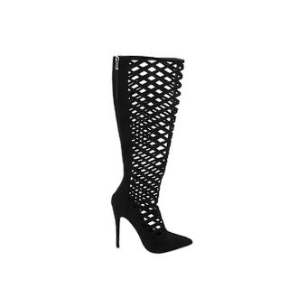 Missguided Caged Stilletto Heeled Knee Boot Women's Boots Black