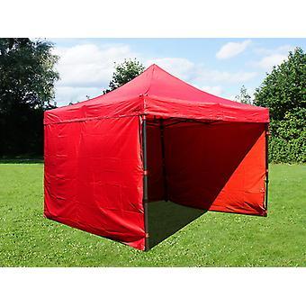 Vouwtent/Easy up tent FleXtents Basic v.2, 4x4m Rood, inkl. 4 Zijwanden