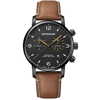 Wenger Metropolitan Chronograph Black Dial Brown Leather Strap Men's Watch 01.1743.113 RRP £229