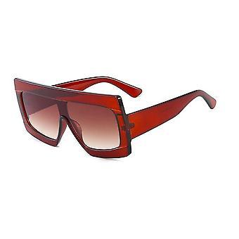 Rode brede oversized zonnebril UV400 Parijs