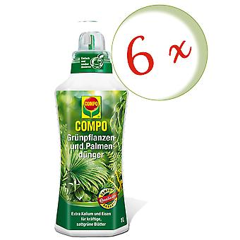 Sparset: 6 x COMPO grøn plante- og palmegødning, 1 liter