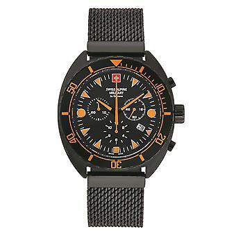 Schweiziska Alpina militära Män Watch Kronograf Analog Kvarts 7066.9179SAM rostfritt stål