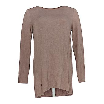 H by Halston Women's Top Essentials Long Sleeve Crew Neck Pink A279861