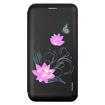 Case For Samsung Galaxy A9 (2018) Black Lotus Flower Pattern And Butterfly