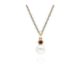 Modern Pearl & Ruby Pendant Necklace in 9ct Yellow Gold 135P1965029