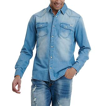 Funky Buddha Men's Denim Shirt With Washed Effects