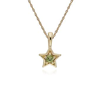 Classic Single Stone Round Peridot Star Pendant Necklace in 9ct Yellow Gold 135P1874069