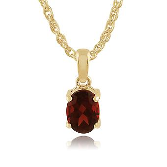 9ct Yellow Gold Classic Oval Garnet Pendant Necklace 9042