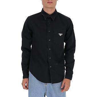 Prada Gec0631t7lf0qsz Männer's schwarze Baumwolle Shirt