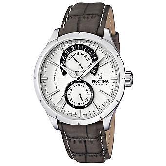 Festina F16573-2 Hombres's Reloj de pulsera de cuero gris