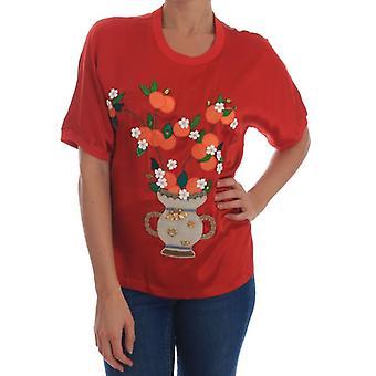 Dolce & Gabbana Red Silk Narancs Virágos Kristály Blúz TSH1931-2