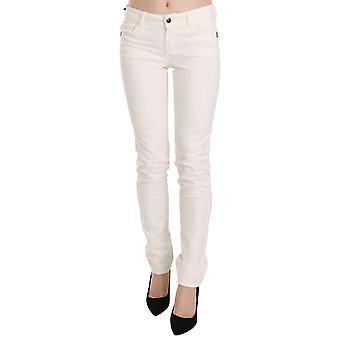 White Cotton Low Waist Skinny Denim Pants Jeans