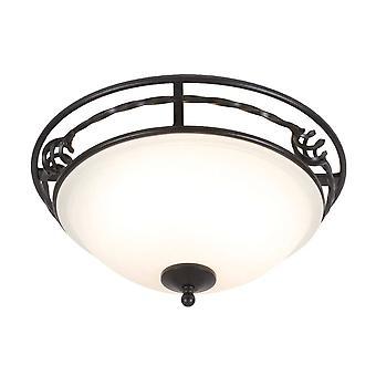 2 Light Flush Ceiling Light Black, E27