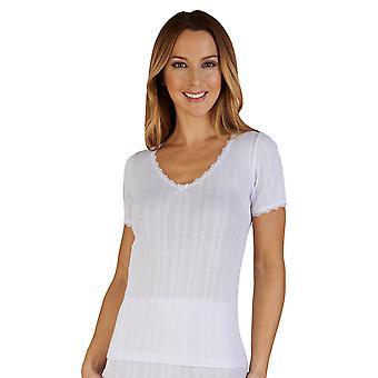 Slenderella UW402 Women's White Brushed Cotton Thermal Short Sleeve Top